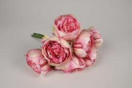 x195am Bouquet de pivoines artificielles roses H33cm