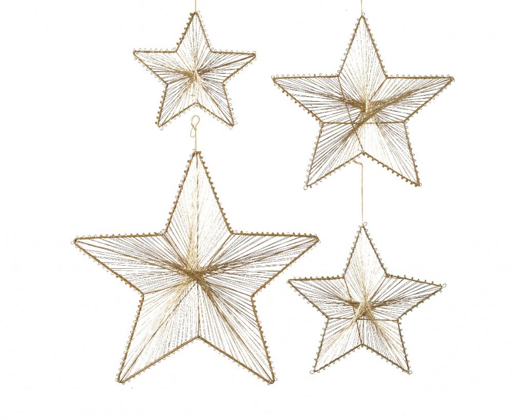 X196KI Set de 4 étoiles en métal or à suspendre D38cm