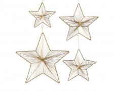 X196KI Set of 4 gold metal stars hangings D38cm