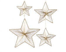 X196KI Set of 4 gold metal stars hangings D38cm