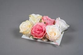 x202fd Boîte de 6 roses artificielles assorties D6cm