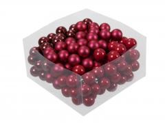 X206X4 Boîte de 144 boules en verre rouge nacré D25mm