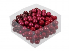X206X4 Box of 144 pearly red glass balls D25mm