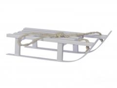 X207X4 White wooden sledge L38cmx 15cm