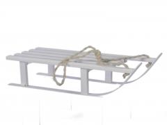 X208X4 White wooden sledge L51cmx 21cm