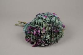x214ab Hortensia préservé bleu violet H33cm