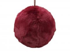 X215X4 Boule en fourrure synthétique rouge à suspendre D13cm