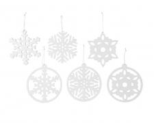 X217KI White snowflake hanging with glittery D12cm