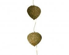 X218KI Guirlande de feuilles en métal or LED L110cm