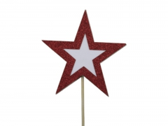X221X4 Boîte de 8 étoiles sur pique pailletées rouge D10cm