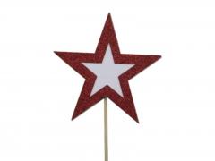 X221X4 Box of 8 stars on stick on red glitter D10cm
