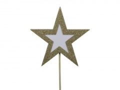 X222X4 Boîte de 8 étoiles sur pique pailletées or D10cm
