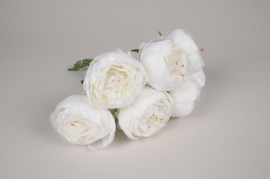 x223am Bouquet de pivoines artificielles blanches H33cm