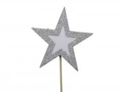 X223X4 Boîte de 8 étoiles sur pique pailletées argent D10cm