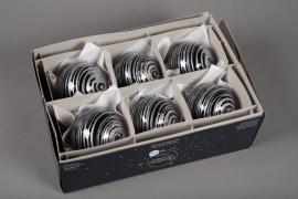 X225KI Boîte de 6 boules verre deco D8cm