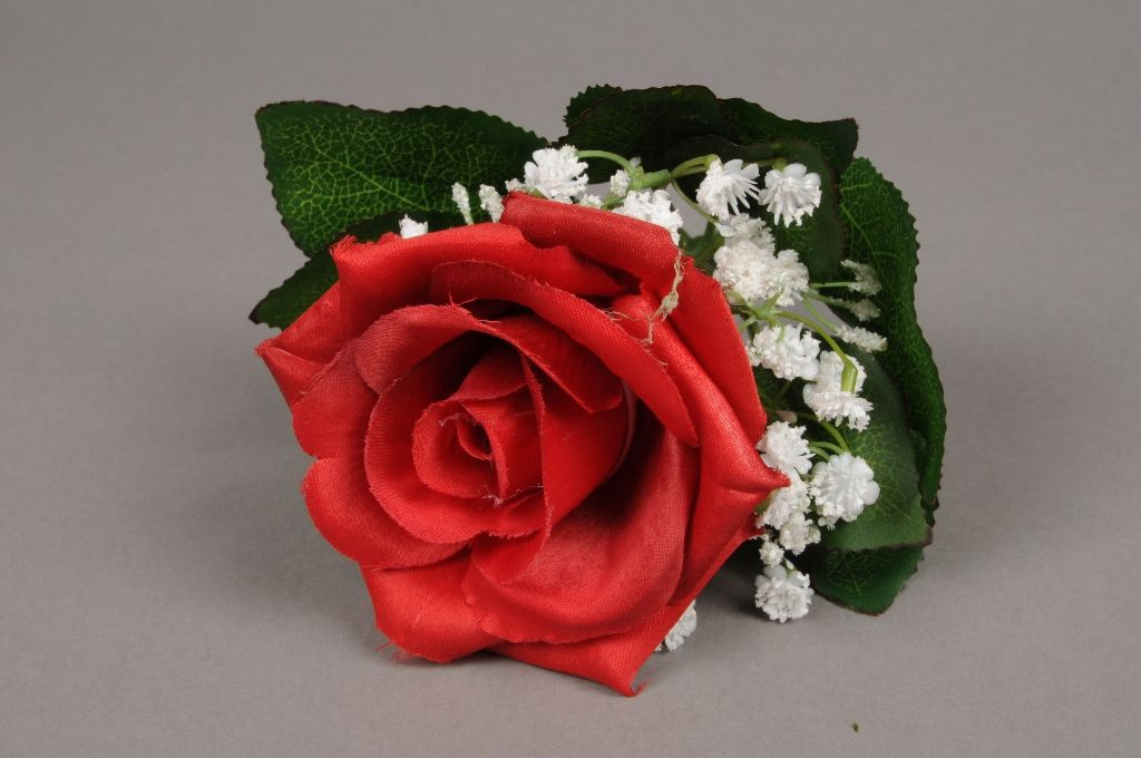 x229fp Bouquet d'une rose rouge et de gypsophiles blanc artificiel H21cm
