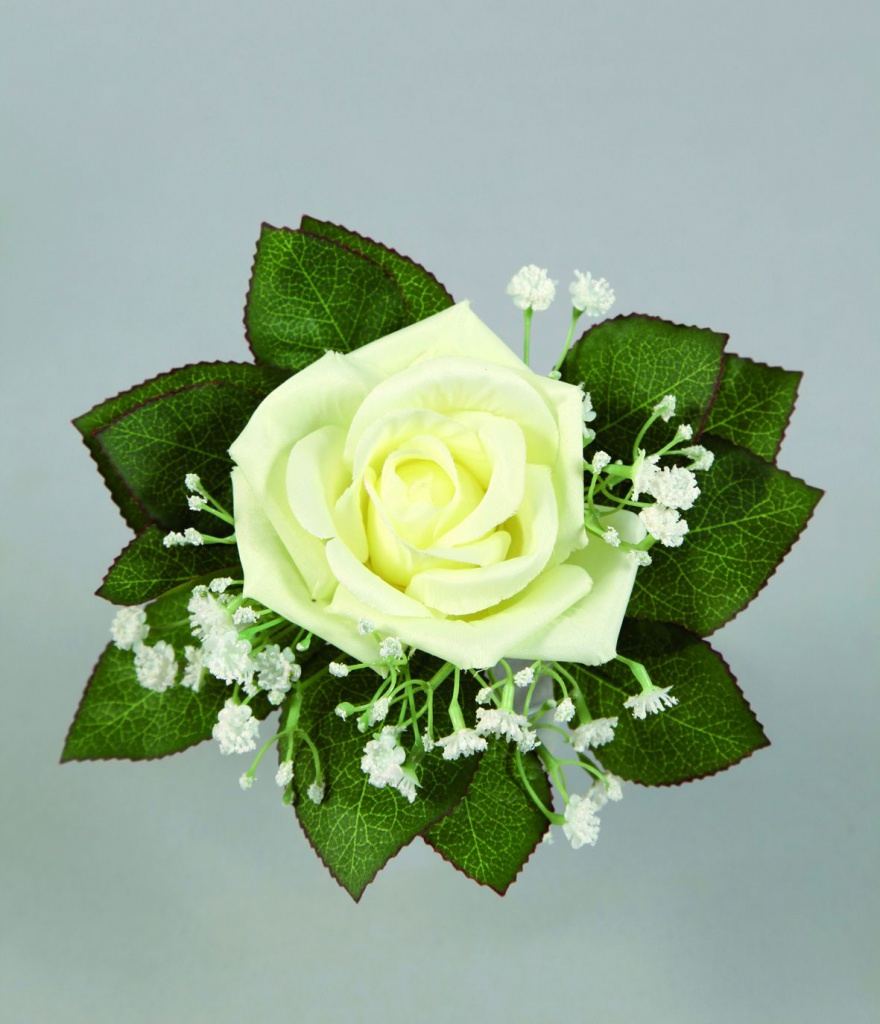 x230fp Bouquet d'une rose et de gypsophiles blanc artificiel H21cm
