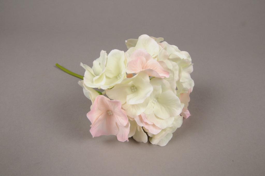x234fd Hortensia artificiel crème et rose H22cm