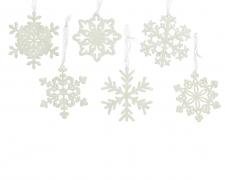 X243KI Flocon blanc pailleté en plastique D10cm