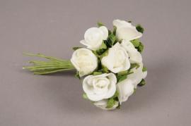 x244fd Mini bouquet de roses artificielles blanches H10cm