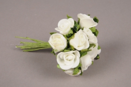 x244fd White mini bunch of 12 artificial roses H10cm