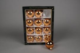 X249T1 Boîte de 12 boules en verres brillant cuivre rosé D6cm