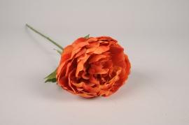 x250am Pivoine artificielle orange H63cm