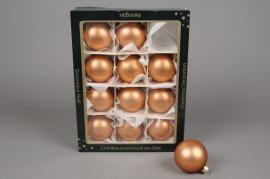 X251T1 Boîte de 12 boules en verre mat cuivre rosé diamètre 6cm