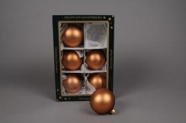X252T1 Box of 6 matte pinky copper glass balls diameter 8cm
