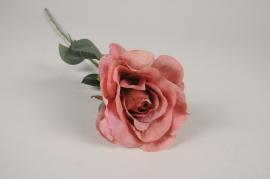 x254am Rose artificielle terracotta H65cm