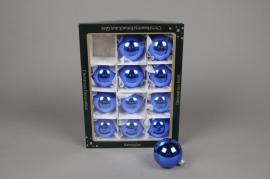 X254T1 Box of 12 shiny blue glass diameter 6cm