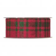 X254UN Ruban en laine à carreaux verts et rouges 40mm x 10m