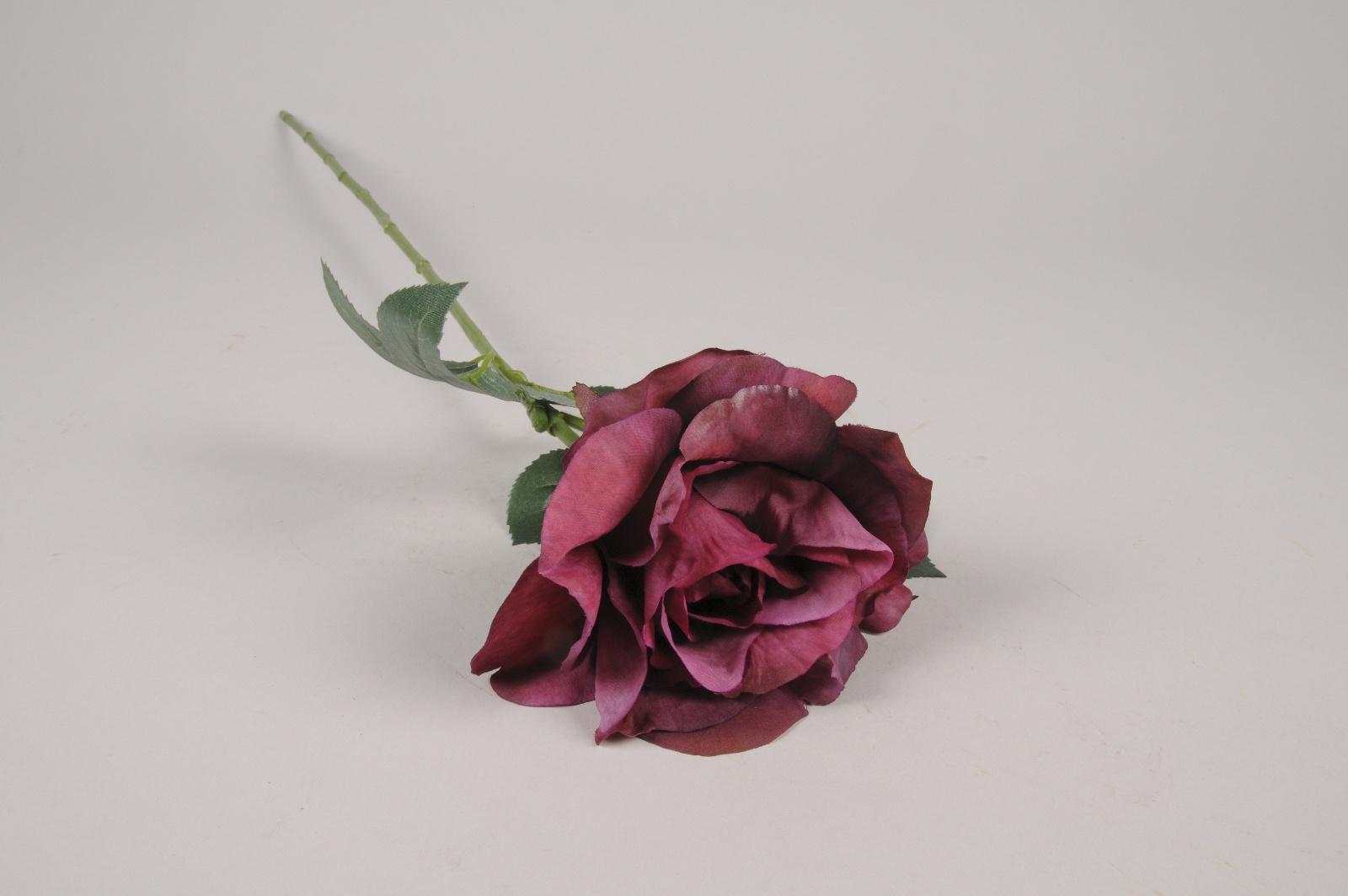 x255am Rose artificielle pourpre H65cm
