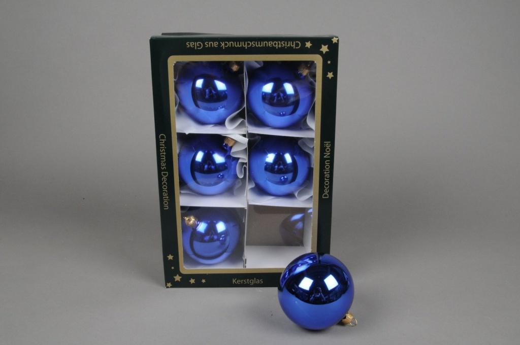 X255T1 Boîte de 6 boules en verre brillant bleu D8cm