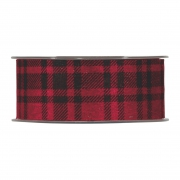 X255UN Black and red checked woolen ribbon 40mm x 10m