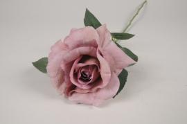 x256am Rose artificielle mauve H64cm