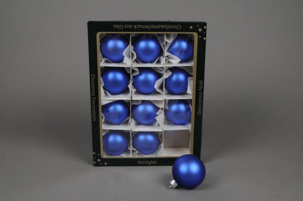 X256T1 Boîte de 12 boules mat bleu D6cm