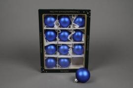 X256T1 Box of 12 balls matte blue diameter 6cm