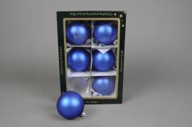 X257T1 Boîte de 6 boules en verre mat bleu D8cm