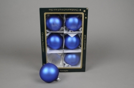 X257T1 Box of 6 matte blue glass balls diameter 8cm
