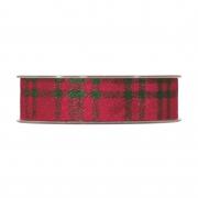 X257UN Ruban en laine à carreaux verts et rouges 25mm x 10m