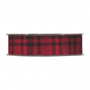 X258UN Black and red checked ribbon 25mm x 10m