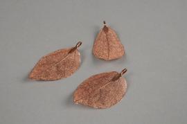 X264UN Set de 3 feuilles en métal cuivre H6cm