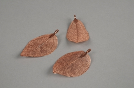 X264UN Set of 3 leaves in coppery metal H6cm