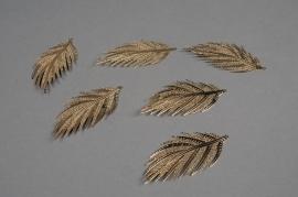 X265UN Set de 6 feuilles en métal or H7cm