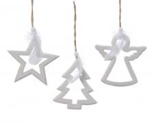 X266KI Décoration de Noël en bois blanc assortie H11cm