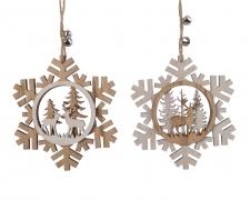 X267KI Wooden snowflake hanging assorted D12cm