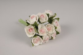 x268fd Mini bouquet de roses artificielles rose H10cm