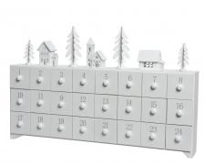 X268KI Calendrier de l'Avent en bois blanc L44.5cm H27cm