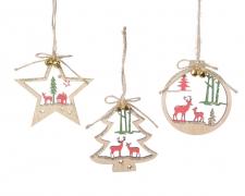 X270KI Décoration de Noël en bois assortie H12cm